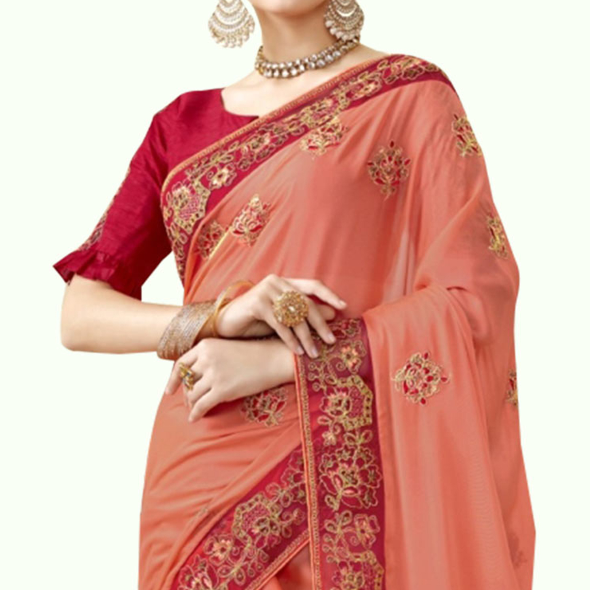 Engrossing Peach Colored Partywewar Embroidered Georgette Saree