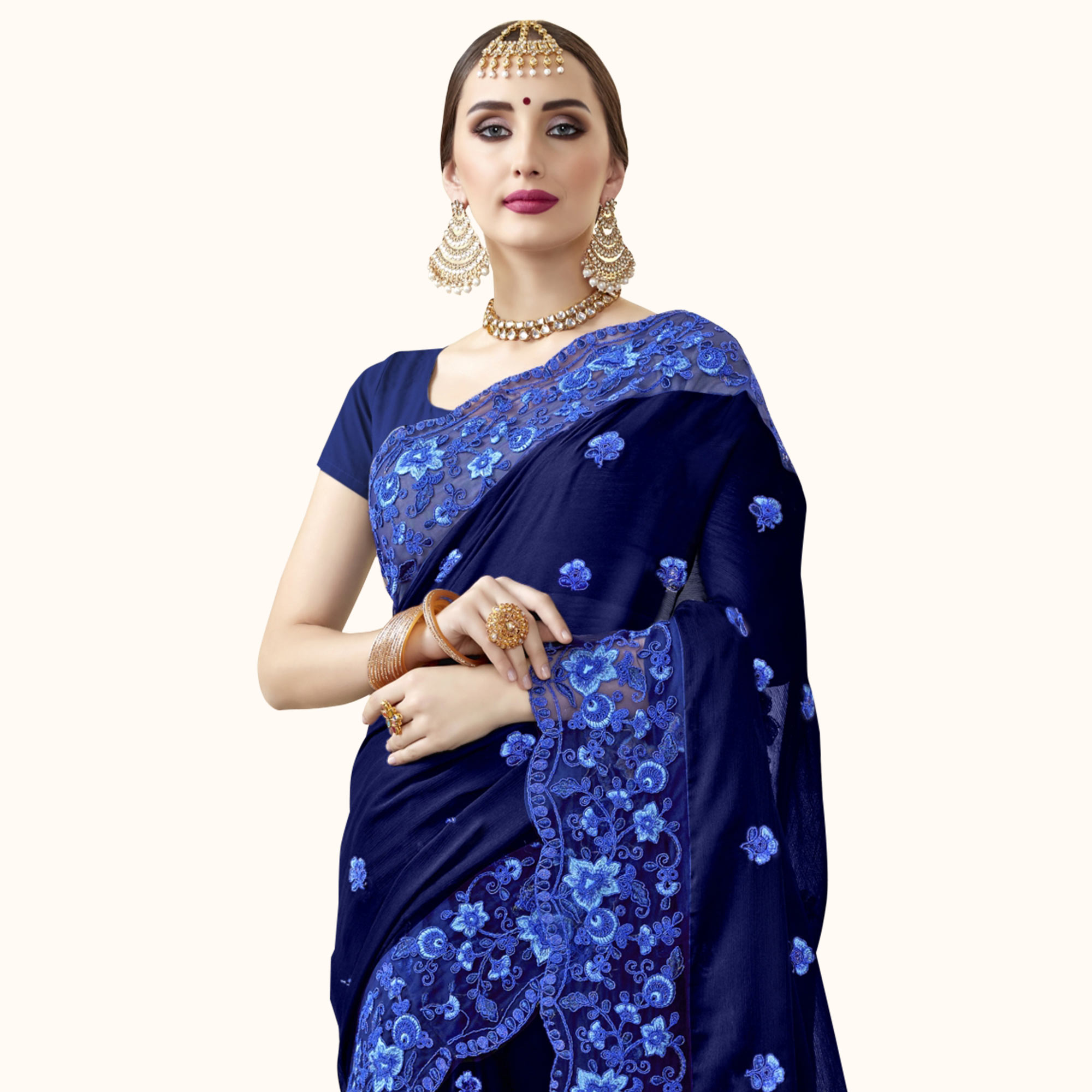 Captivating Navy Blue Colored Partywewar Embroidered Georgette Saree