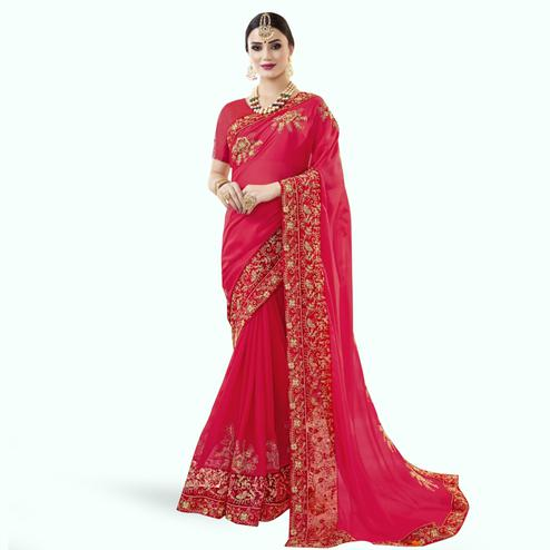 Innovative Red Colored Partywewar Embroidered Georgette Saree