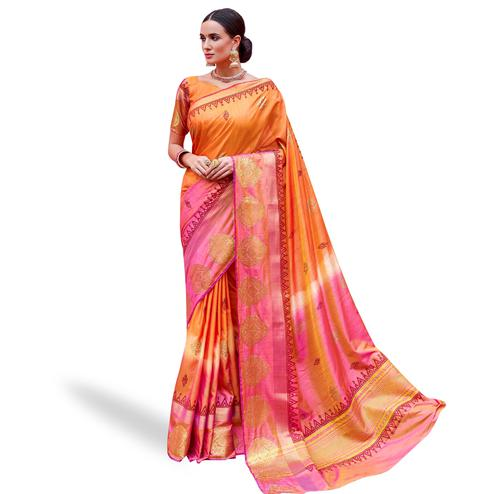 Attractive Orange Colored Festive Wear Woven Silk Saree