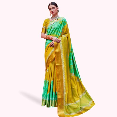 Beautiful Yellow-Green Colored Festive Wear Woven Silk Saree
