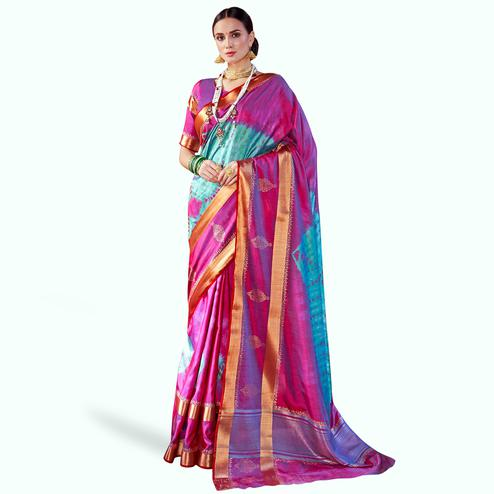Graceful Pink-Blue Colored Festive Wear Woven Silk Saree