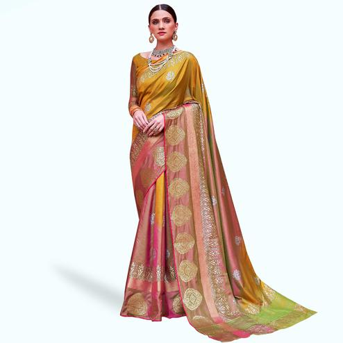 Charming Multi Colored Festive Wear Woven Silk Saree