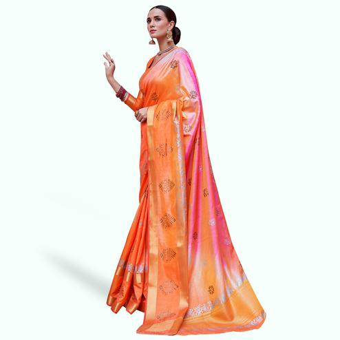 Jazzy Orange-Pink Colored Festive Wear Woven Silk Saree