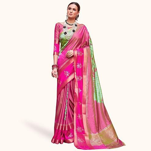 Delightful Pink-Green Colored Festive Wear Woven Silk Saree