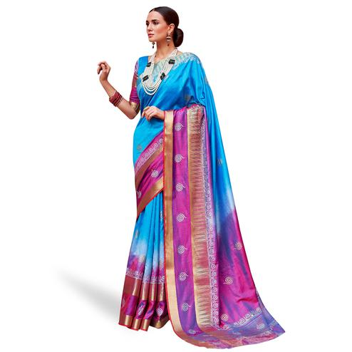 Engrossing Blue-Pink Colored Festive Wear Woven Silk Saree