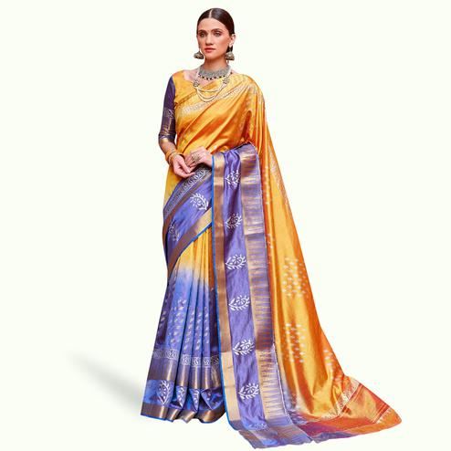 Captivating Orange-Blue Colored Festive Wear Woven Silk Saree