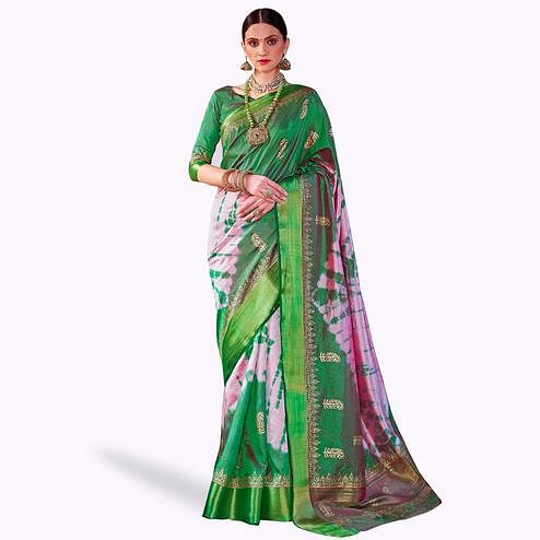 Amazing Green-Pink Colored Festive Wear Woven Silk Saree