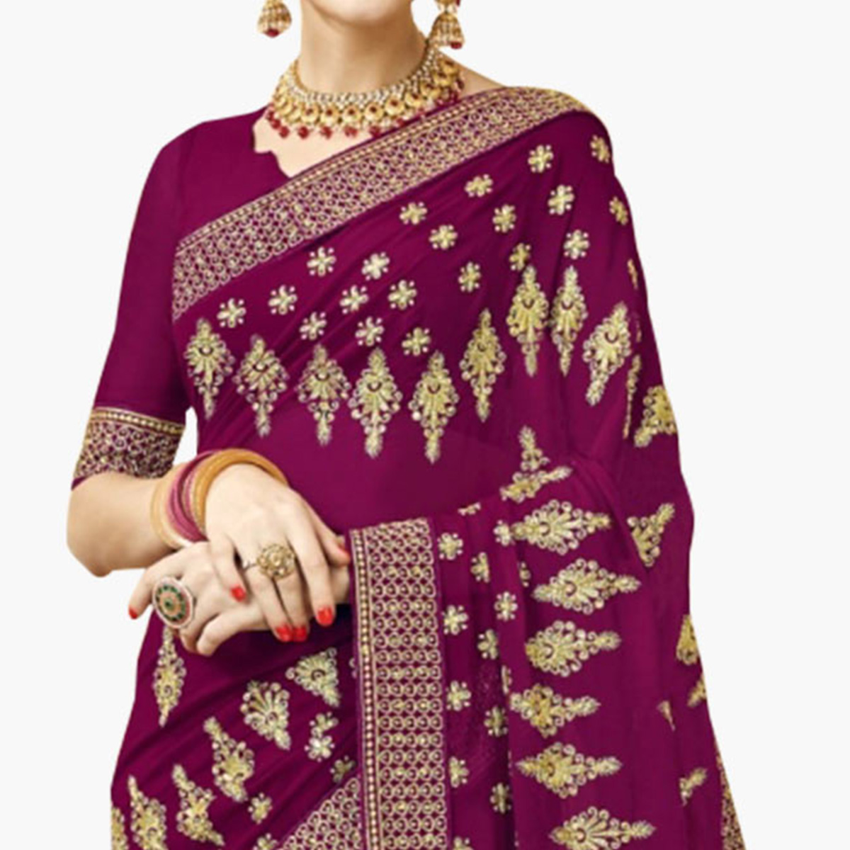Delightful Purple Colored Partywear Embroidered Georgette Saree