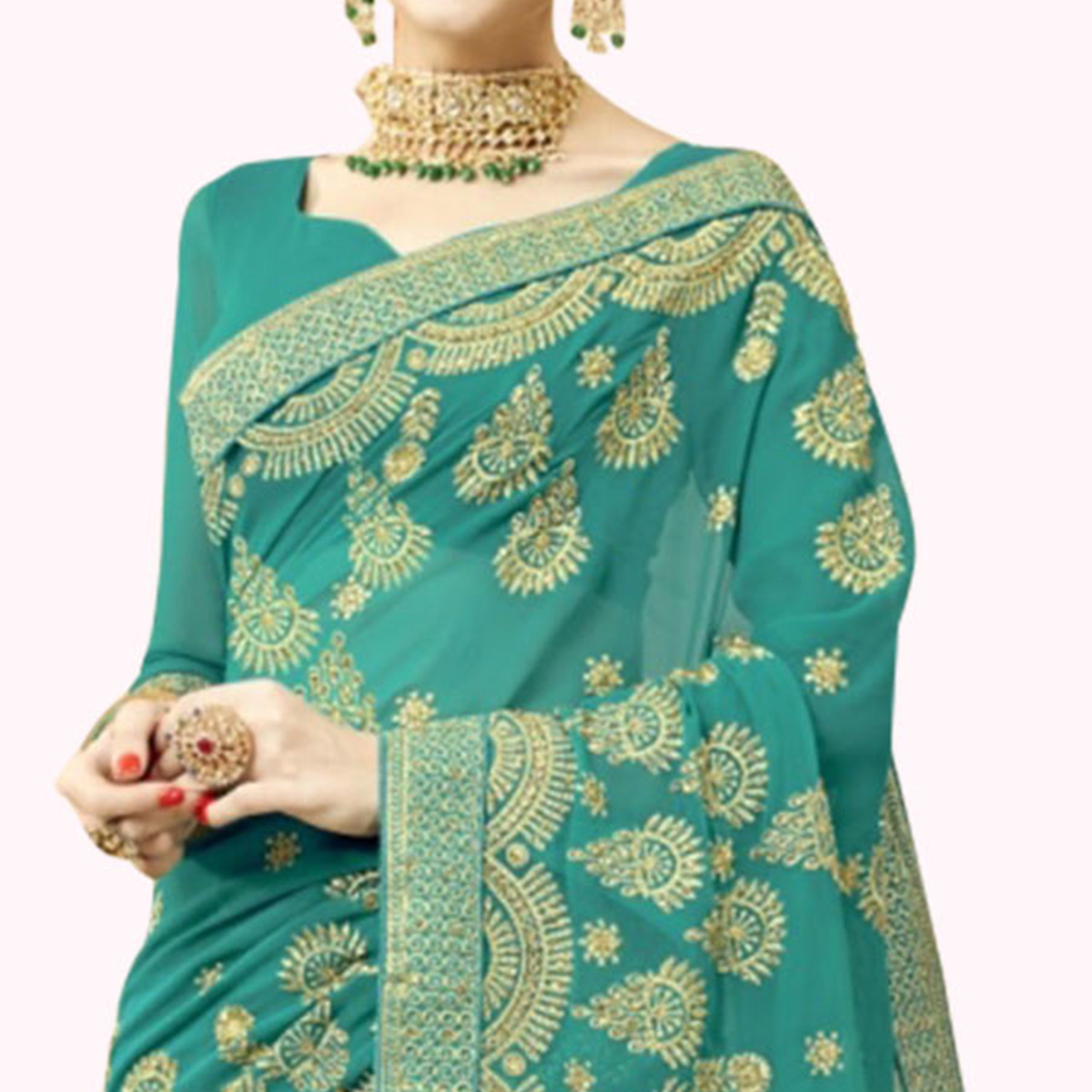 Engrossing Turquoise Green Colored Partywear Embroidered Georgette Saree