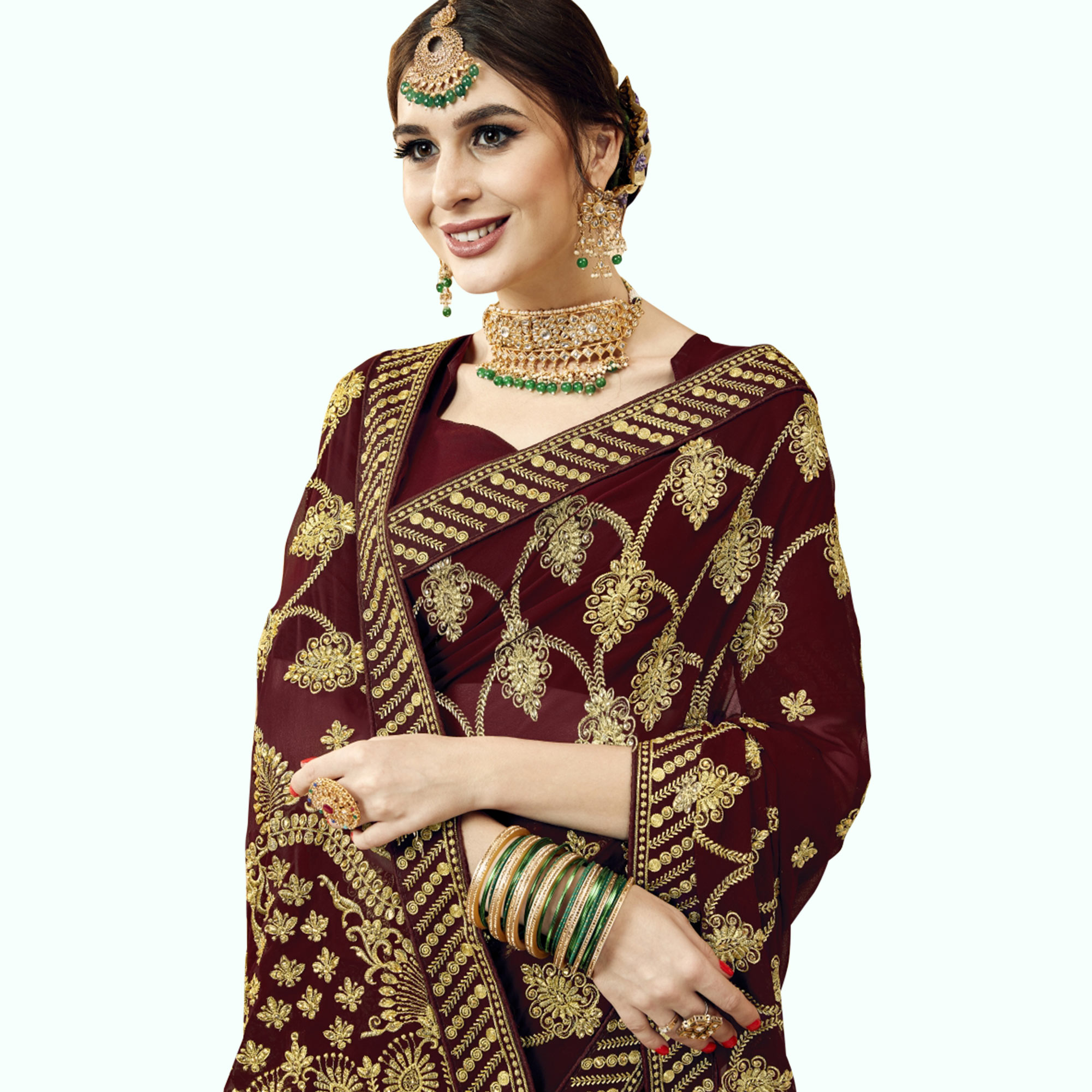Captivating Brown Colored Partywear Embroidered Georgette Saree