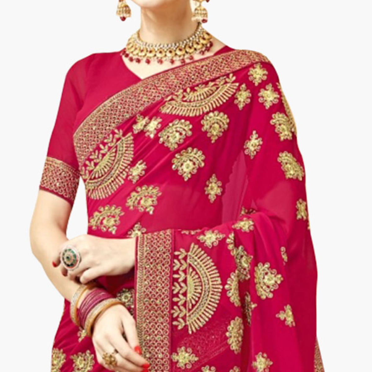Innovative Pink Colored Partywear Embroidered Georgette Saree