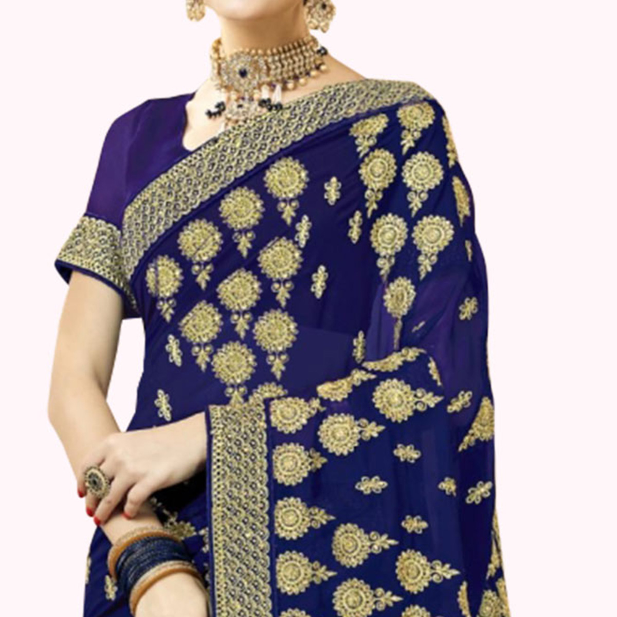 Intricate Navy Blue Colored Partywear Embroidered Georgette Saree