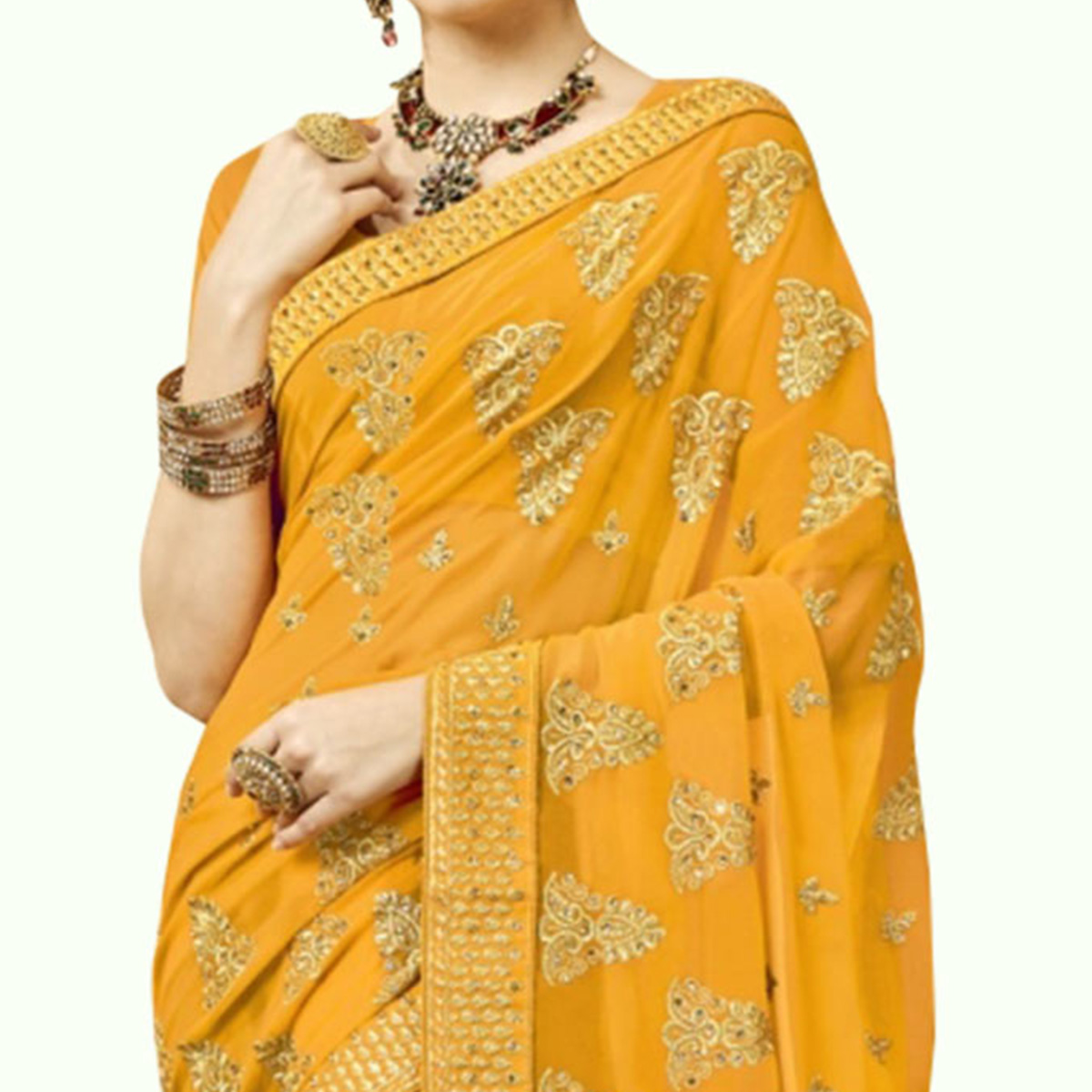 Arresting Yellow Colored Partywear Embroidered Georgette Saree