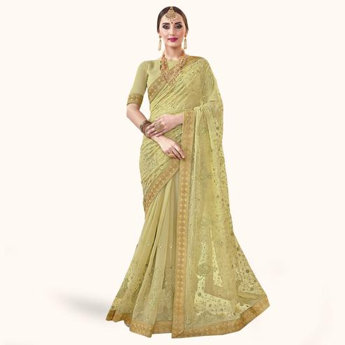 Entrancing Pastel Green Colored Partywear Embroidered Chiffon Saree