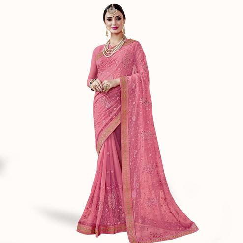 Prominent Pink Colored Partywear Embroidered Chiffon Saree