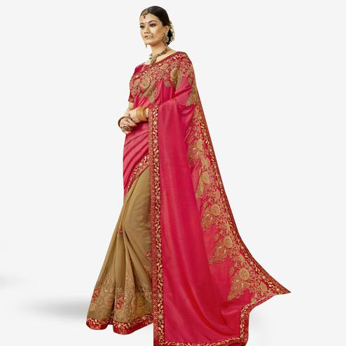 Capricious Pink-Beige Colored Partywear Embroidered Georgette-Chanderi Silk Half-Half Saree