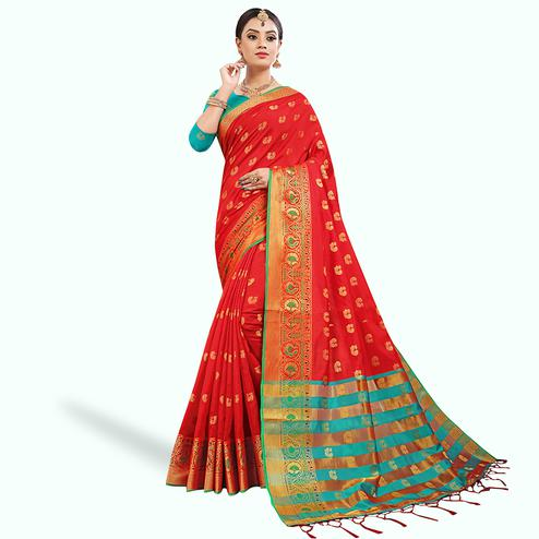 Alluring Red Colored Festive Wear Woven Silk Saree