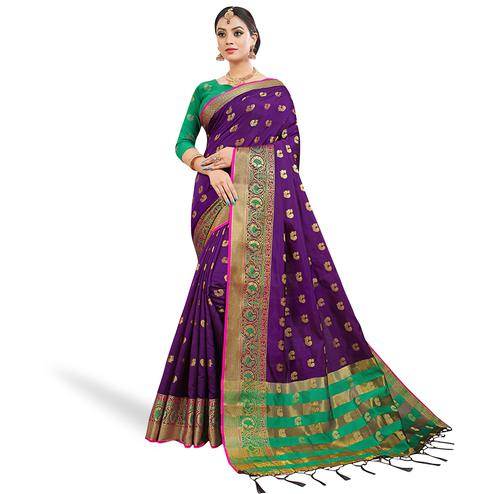 Ethnic Purple Colored Festive Wear Woven Silk Saree