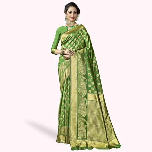 Graceful Green Colored Festive Wear Woven Crepe Saree