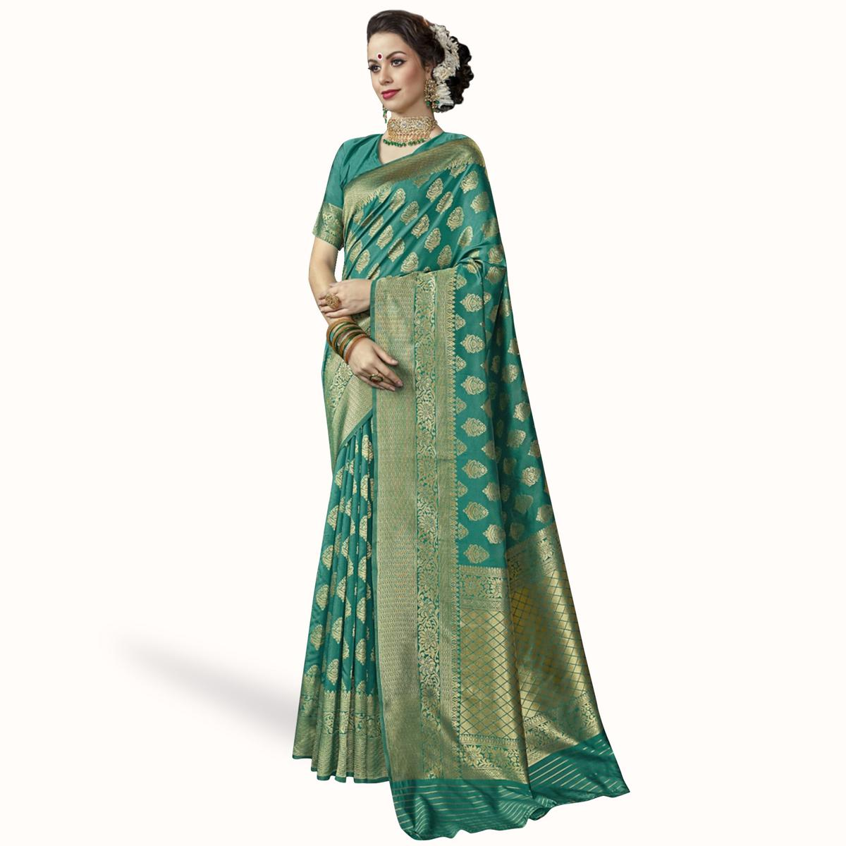 Blooming Turquoise Green Colored Festive Wear Woven Crepe Saree