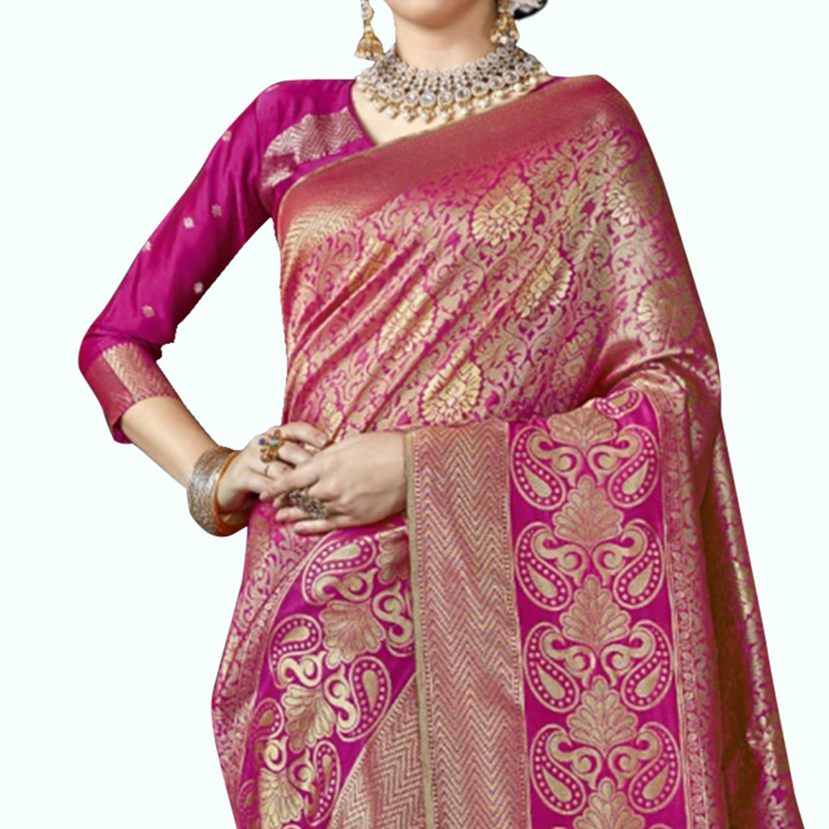Charming Pink Colored Festive Wear Woven Crepe Saree