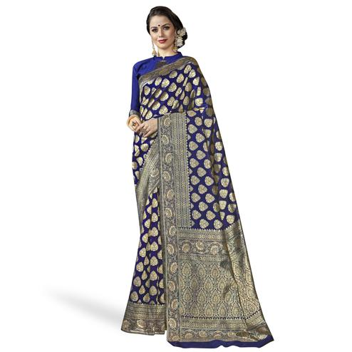Jazzy Navy Blue Colored Festive Wear Woven Crepe Saree