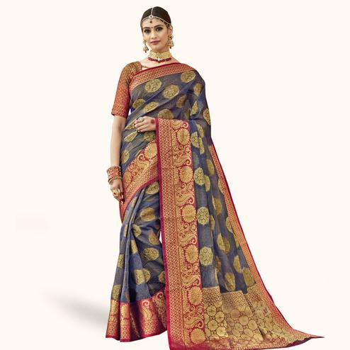 Flaunt Gray Colored Festive Wear Woven Tissue Saree