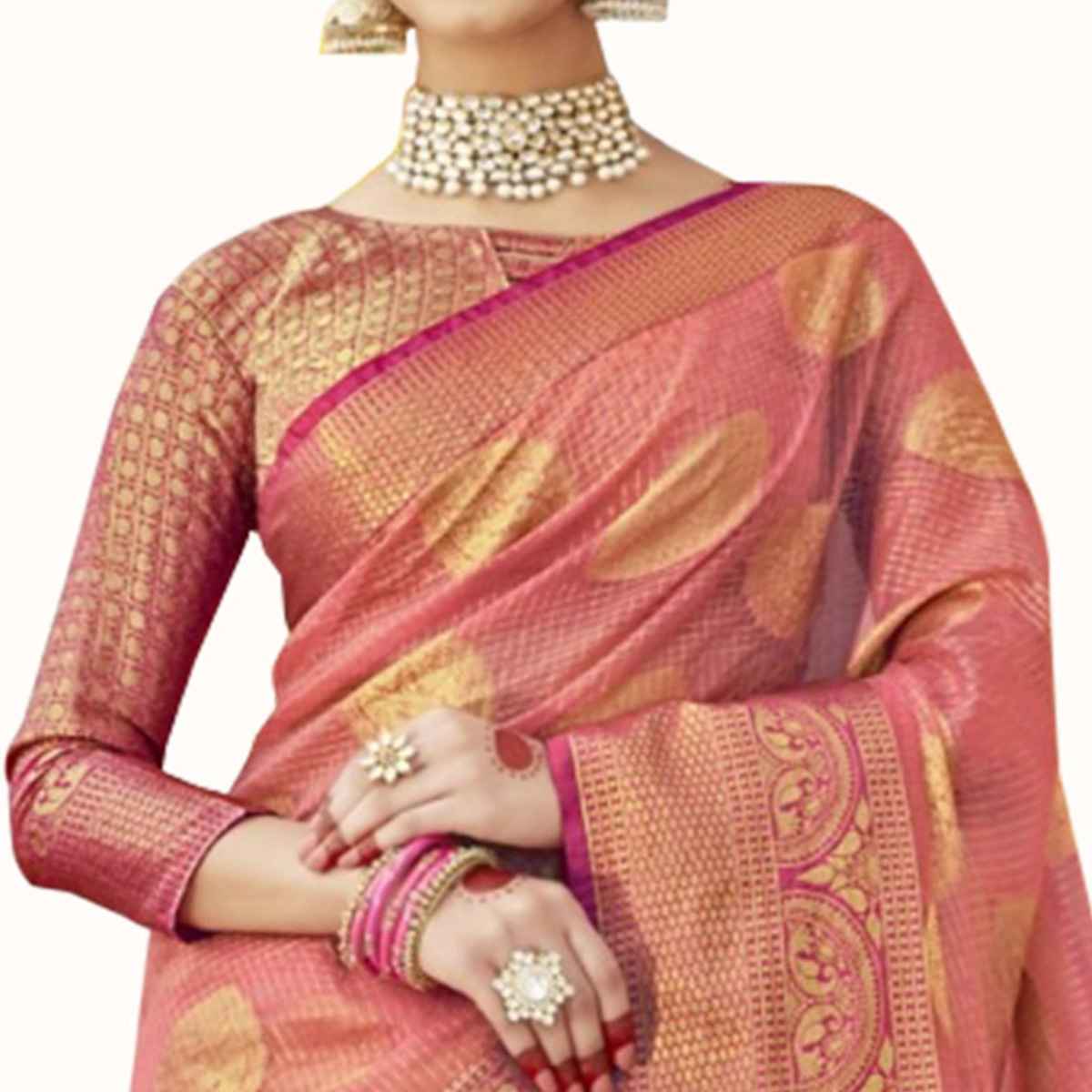 Marvellous Pink Colored Festive Wear Woven Tissue Saree