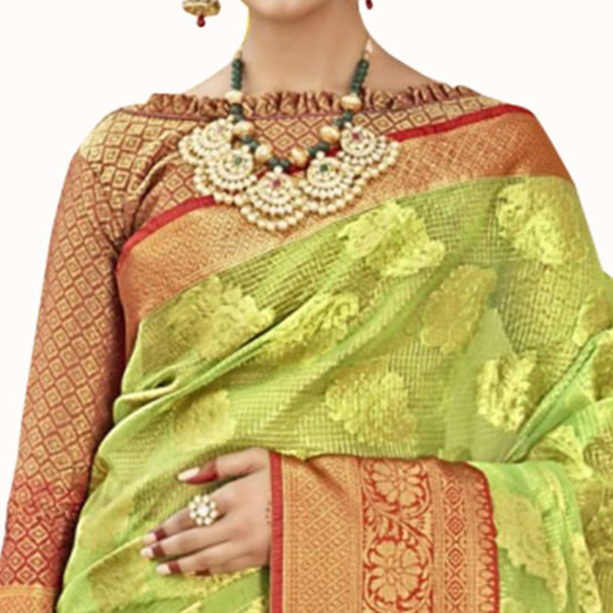 Excellent Light Green Colored Festive Wear Woven Tissue Saree