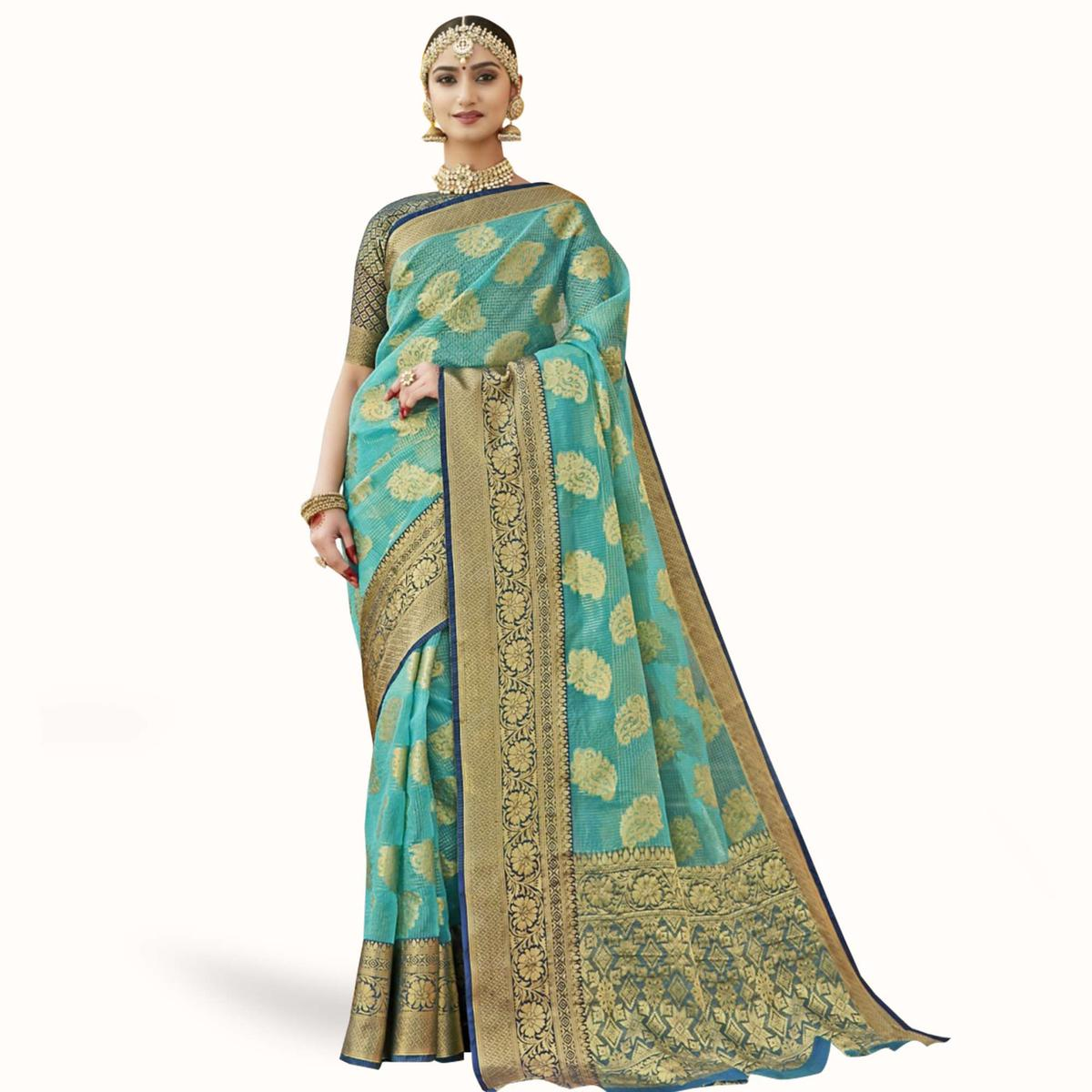 Flattering Blue Colored Festive Wear Woven Tissue Saree