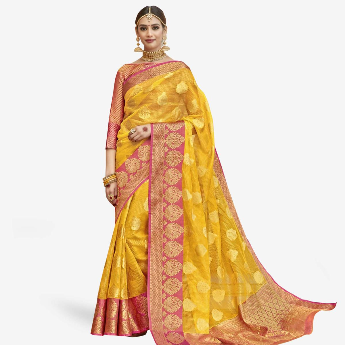 Hypnotic Yellow Colored Festive Wear Woven Tissue Saree