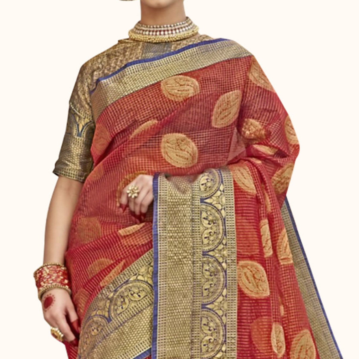 Demanding Red Colored Festive Wear Woven Tissue Saree