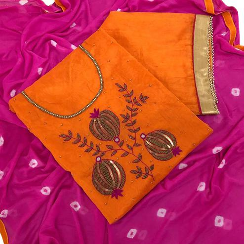 Impressive Orange Colored Partywear Embroidered Chanderi Silk Dress Material