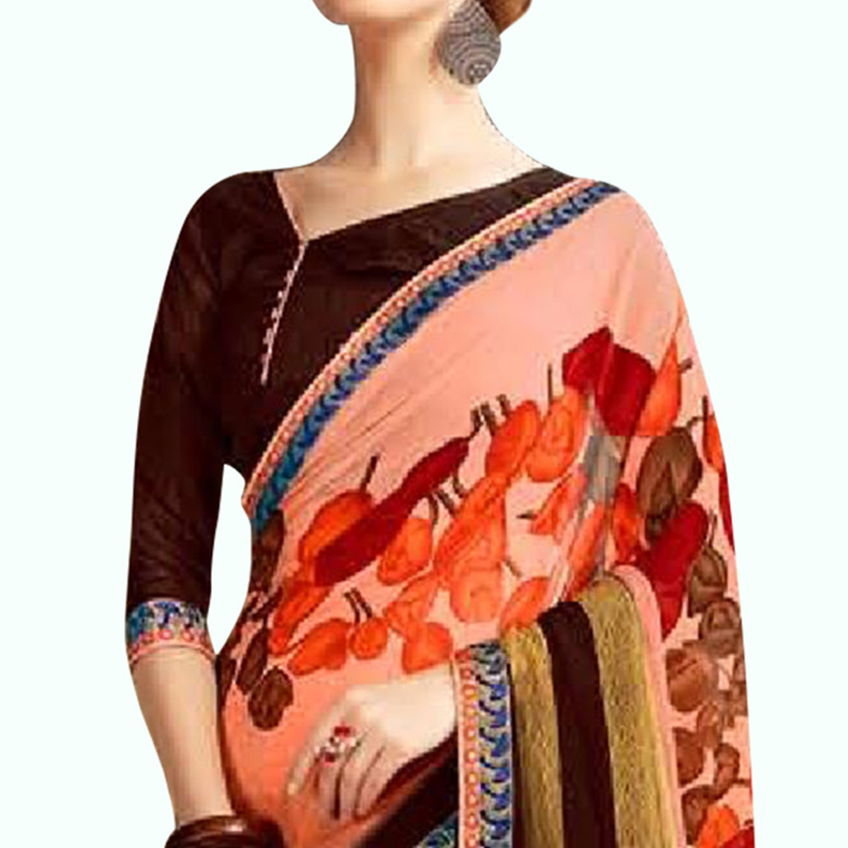 Elegant Peach Colored Casual Printed Georgette Saree