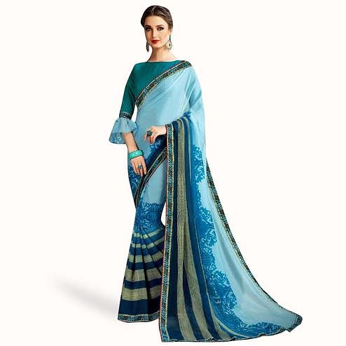 Radiant Light Blue Colored Casual Printed Georgette Saree