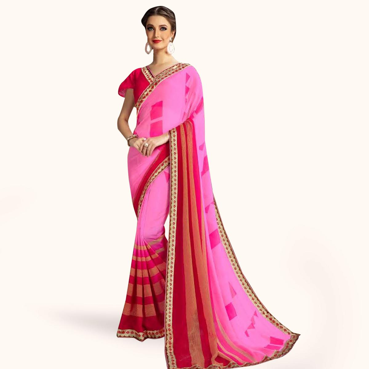 Pleasant Pink Colored Casual Printed Georgette Saree
