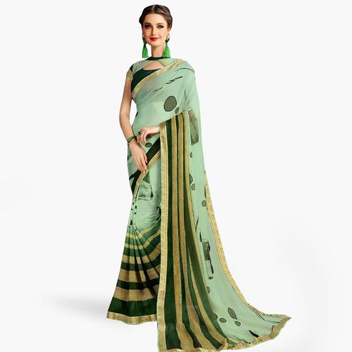 Opulent Pastel Green Colored Casual Printed Georgette Saree