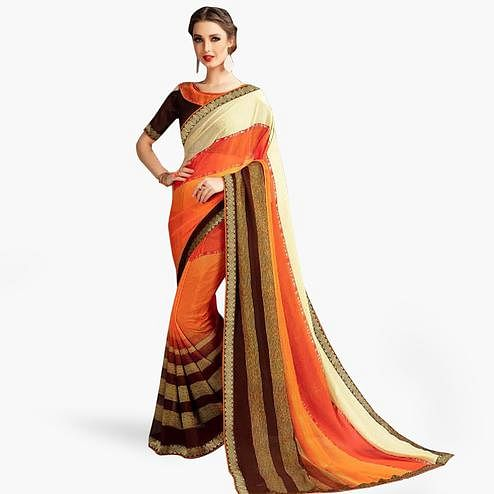 Energetic Orange-Multi Colored Casual Printed Georgette Saree
