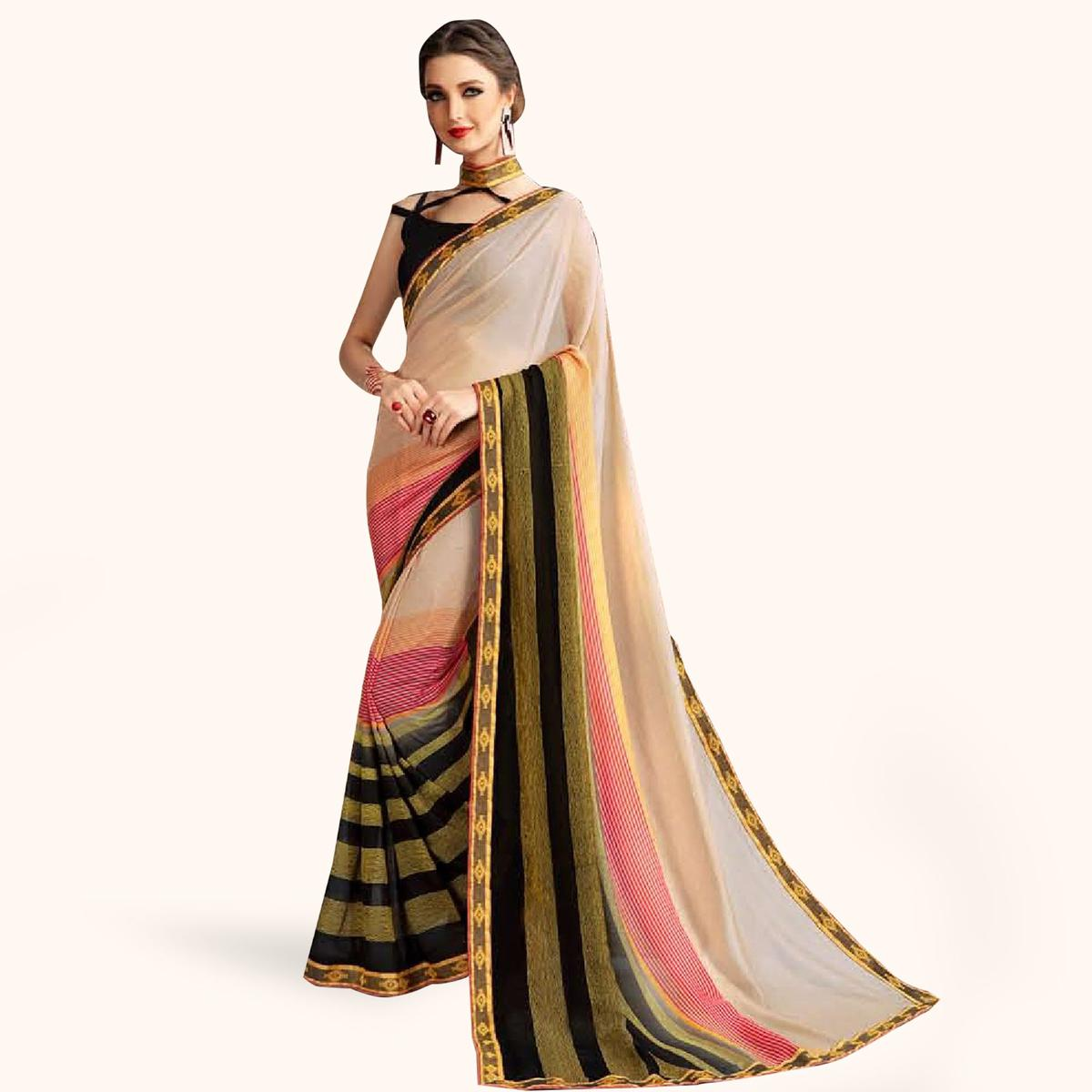 Glowing Cream Colored Casual Printed Georgette Saree