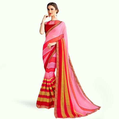 Gleaming Pink Colored Casual Printed Georgette Saree