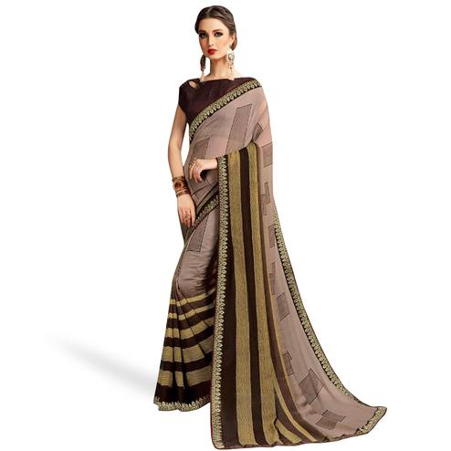 Mesmeric Light Brown Colored Casual Printed Georgette Saree