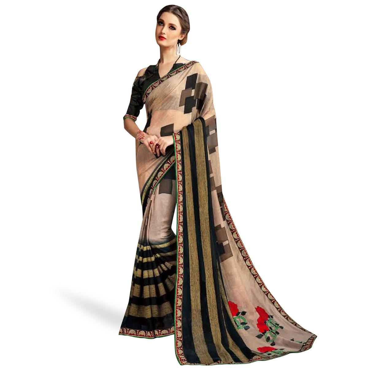 Refreshing Light Brown Colored Casual Printed Georgette Saree
