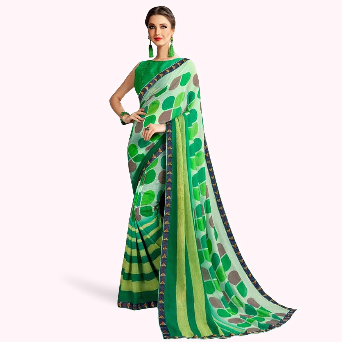 Hypnotic Green Colored Casual Printed Georgette Saree