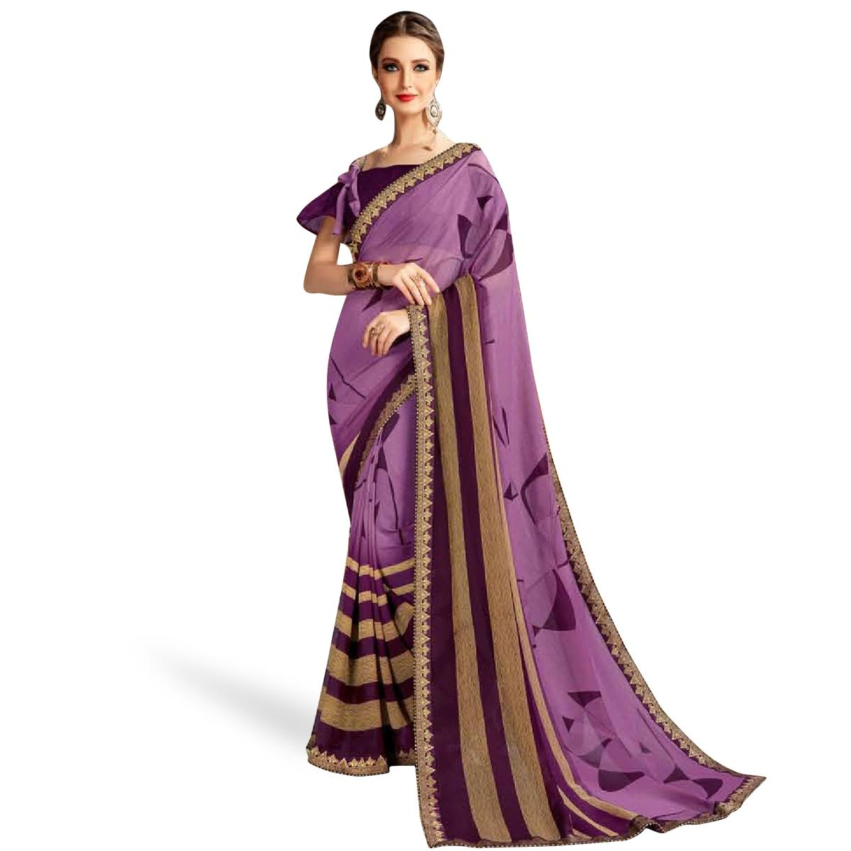 Excellent Purple Colored Casual Printed Georgette Saree