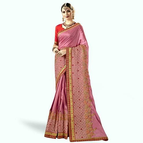 Trendy Pink Colored Partywear Embroidered Chanderi Silk Saree