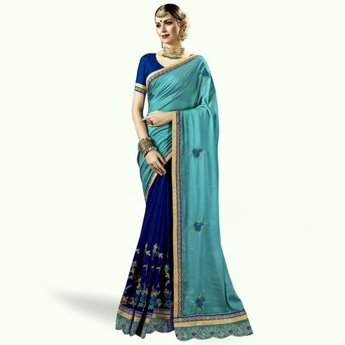 Elegant Blue Colored Partywear Embroidered Art Silk-Georgette Half-Half Saree