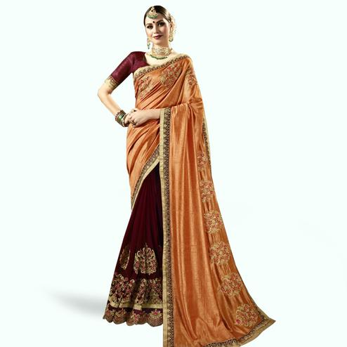 Radiant Orange-Maroon Colored Partywear Embroidered Art Silk-Georgette Half-Half Saree