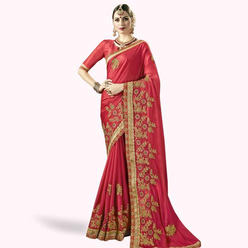 Glorious Red Colored Partywear Embroidered Georgette Saree