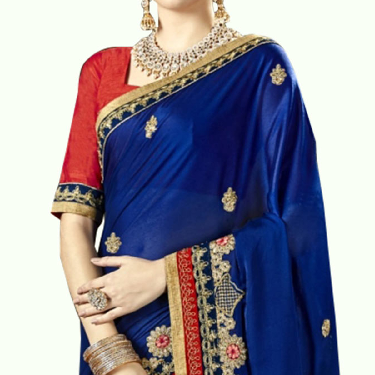 Engrossing Royal Blue Colored Partywear Embroidered Georgette Saree